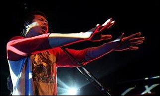 Dougy from The Temper Trap steers an imaginary bus