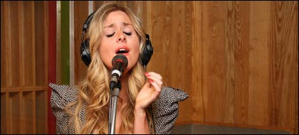 Diana Vickers performing in the Live Lounge